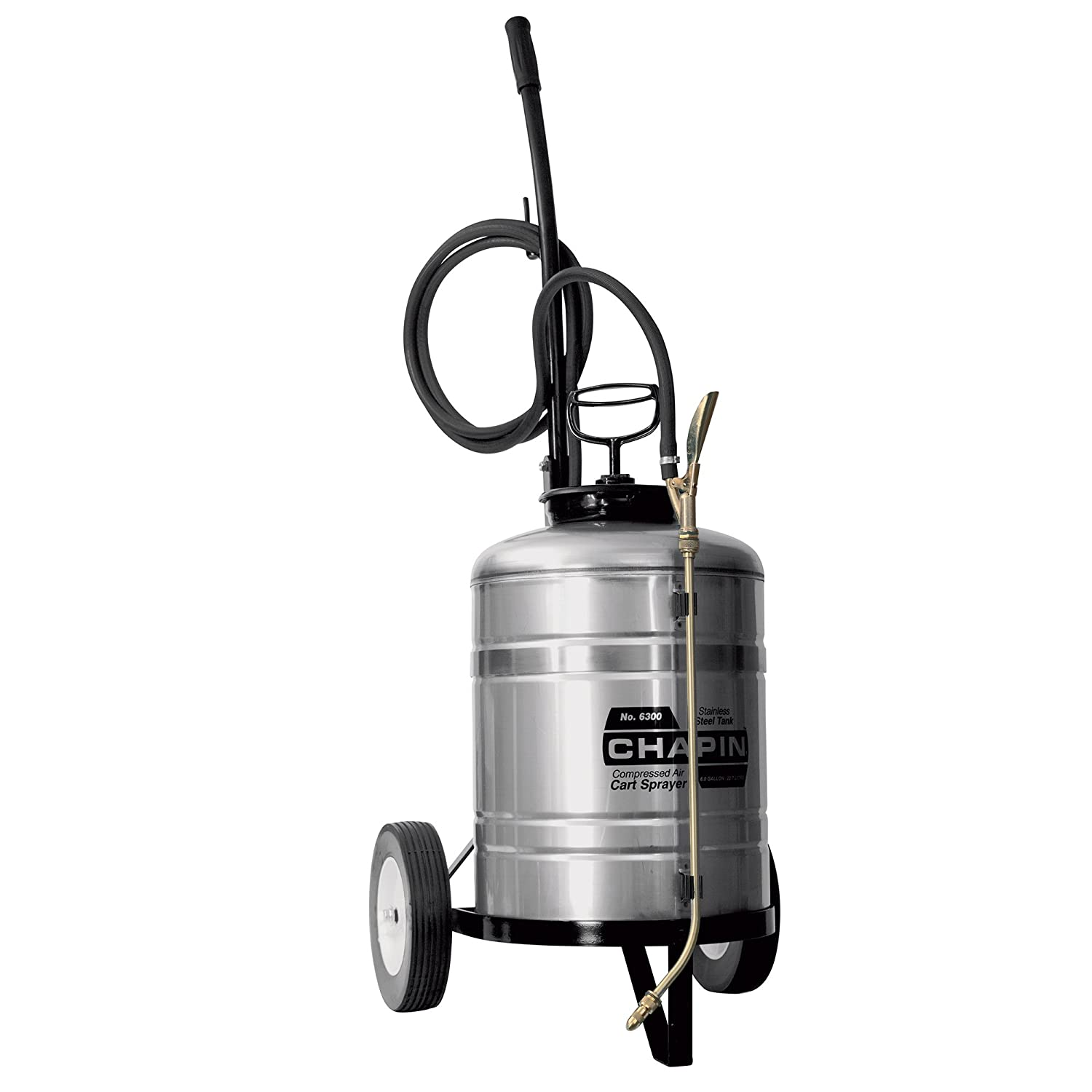 Chapin 6300 Industrial 6-Gallon Stainless Steel Cart Sprayer for Fertilizer, Herbicides and Pesticides, 6-Gallon (1 Sprayer/Package)