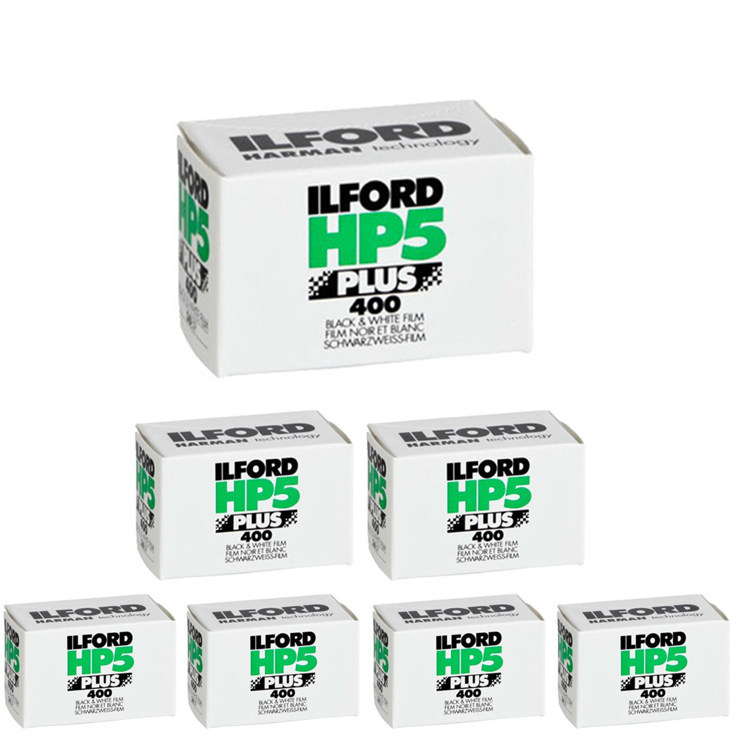Pack of 7 Ilford 1574577 HP5 Plus, Black and White Print Film, 35 mm, ISO 400, 36 Exposures