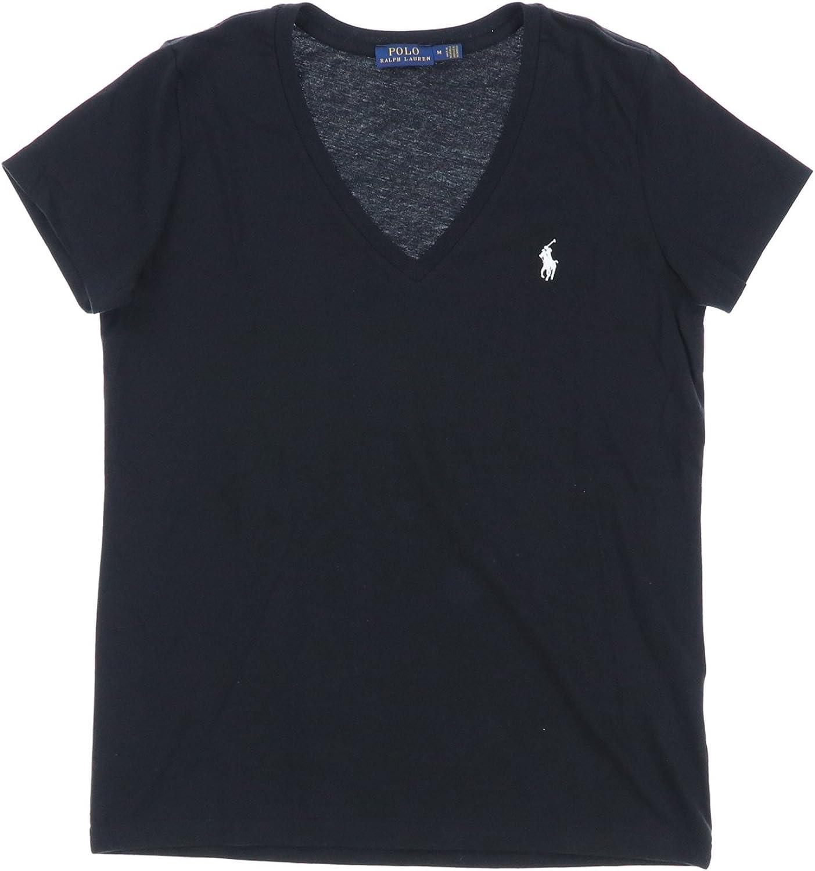 Polo Ralph Lauren Womens V-Neck Jersey T-Shirt (Large, Polo Black)