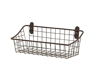 Spectrum Diversified Vintage Wall Mount Storage Basket, Small, Bronze