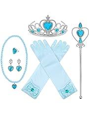 8 Stücke Prinzessin Dress-up Party Zubehör mit Krone Wand Handschuhe Halskette Ohrringe Ring Set (Blau)