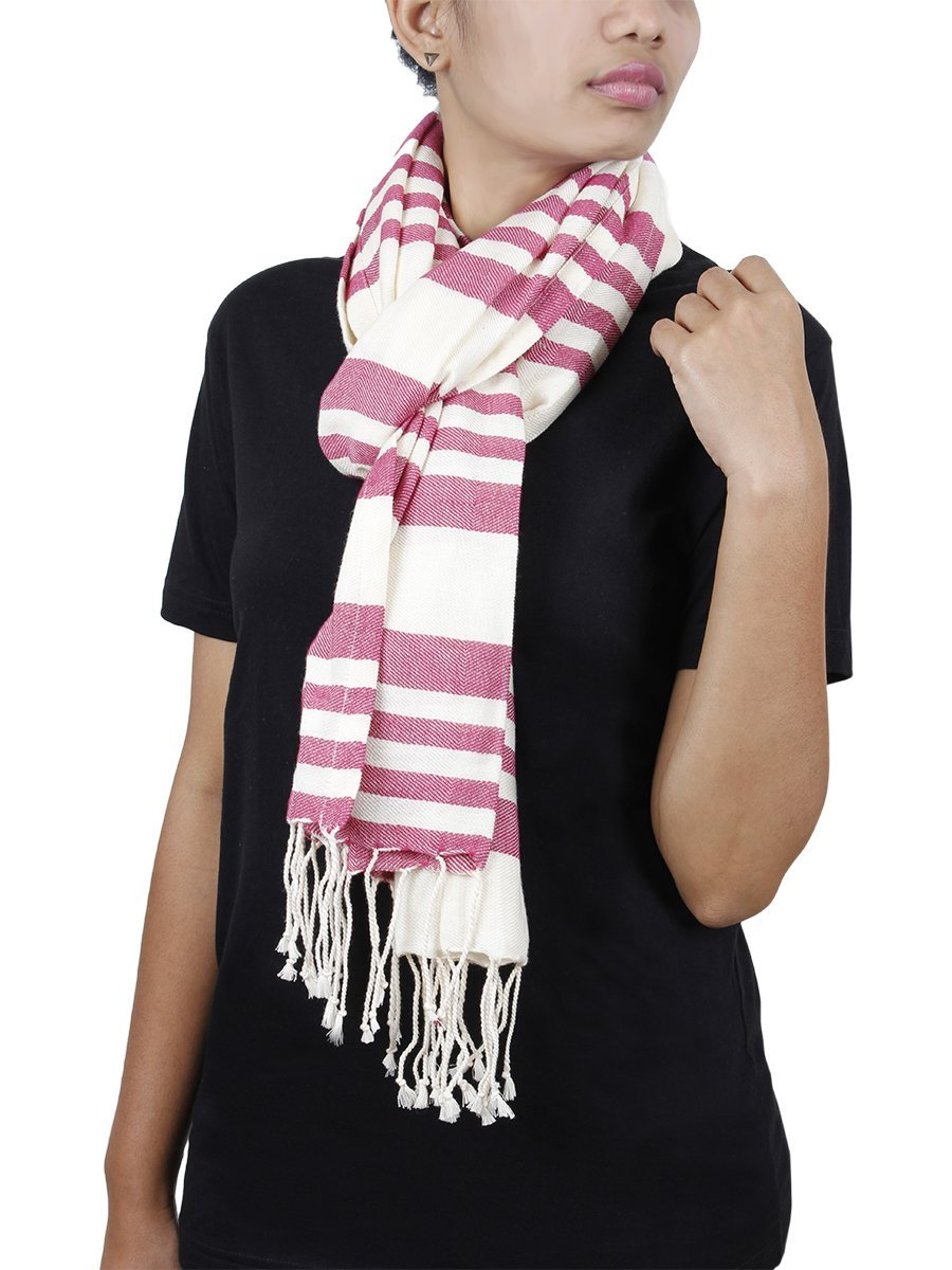 Cotton Scarf Stole Wrap Hand Woven with Stripped Design Fashion for Women Long