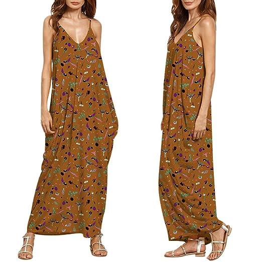 79708191d0 Hunputa Sexy Womens Ladies Casual Printed V Neck Sleeveless Strappy Summer  Long Beach Dresses Maxi Dress