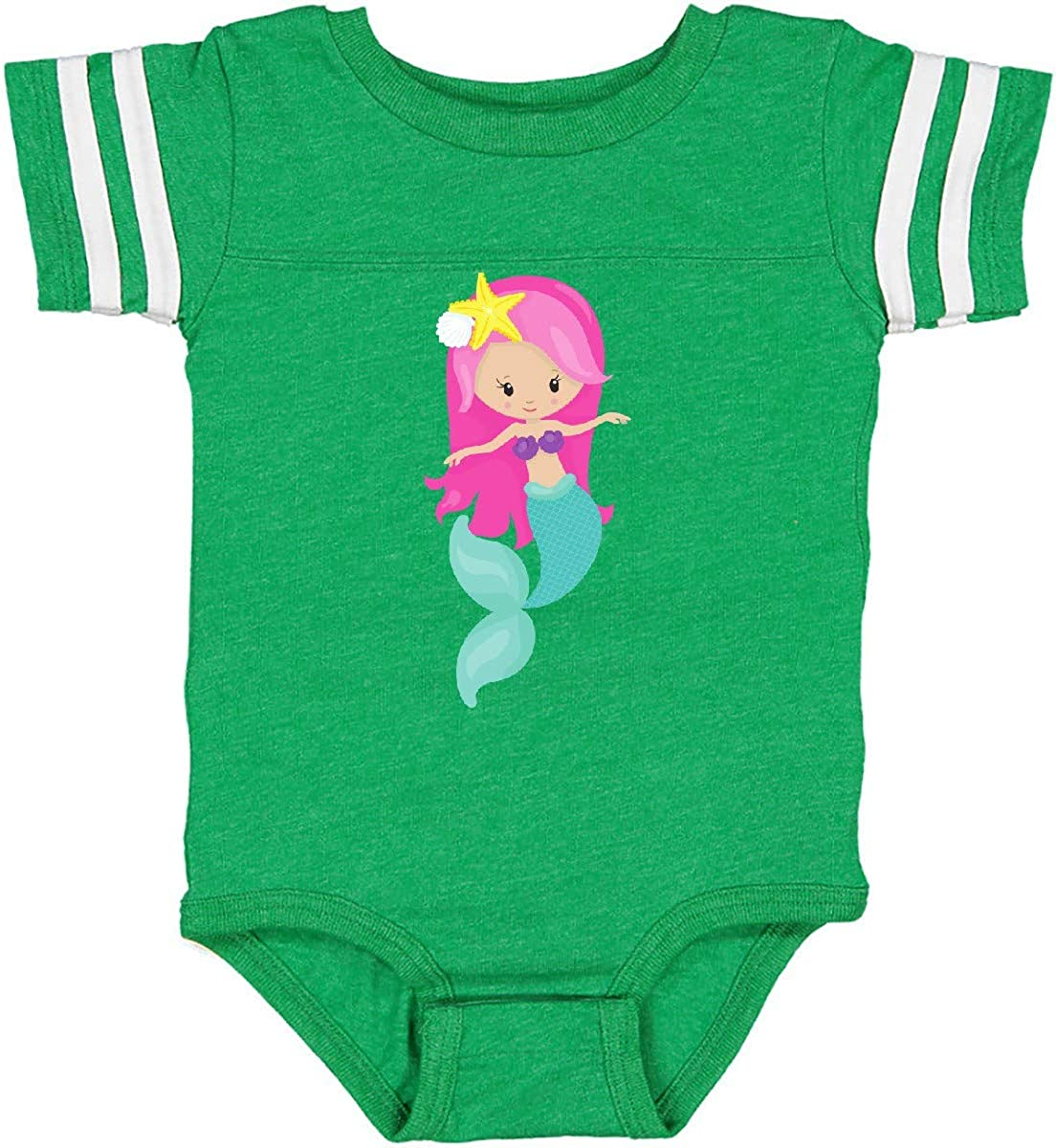 inktastic Cute Mermaid with Long Pink Hair and Green Tail Infant Creeper