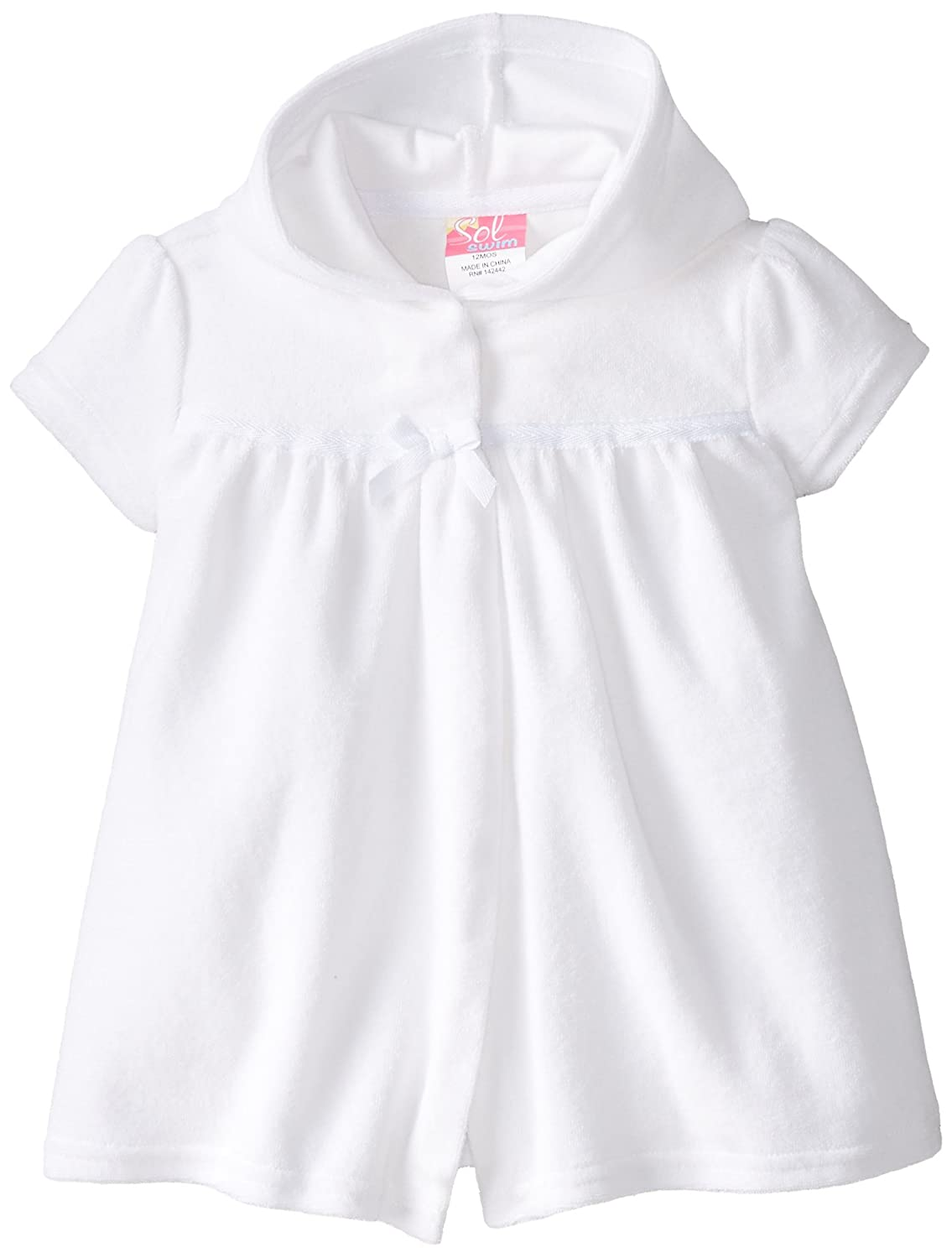 SOL Swim Girls' White Terry Cover-up Solo International Inc Baby GS4-176