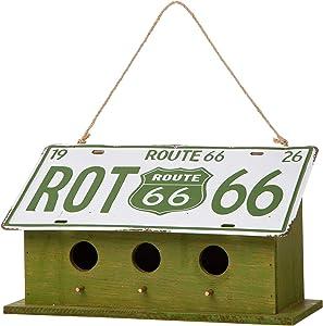 Glitzhome JKC00904 Garden Decorative Bird House Wooden Metal Green Licence Plate Birdhouse, 14