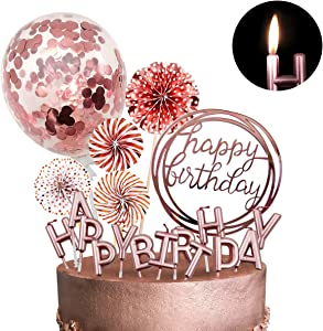 MOVINPE Rose Gold Cake Topper Decoration with Happy Birthday Candles Happy Birthday Banner Confetti Balloon Paper Fans For Rose Gold Theme Party Decor Girl Women Birthday Party