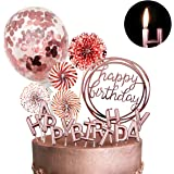 MOVINPE Rose Gold Cake Topper Decoration with Happy Birthday Candles Happy Birthday Banner Confetti Balloon Paper Fans For Ro