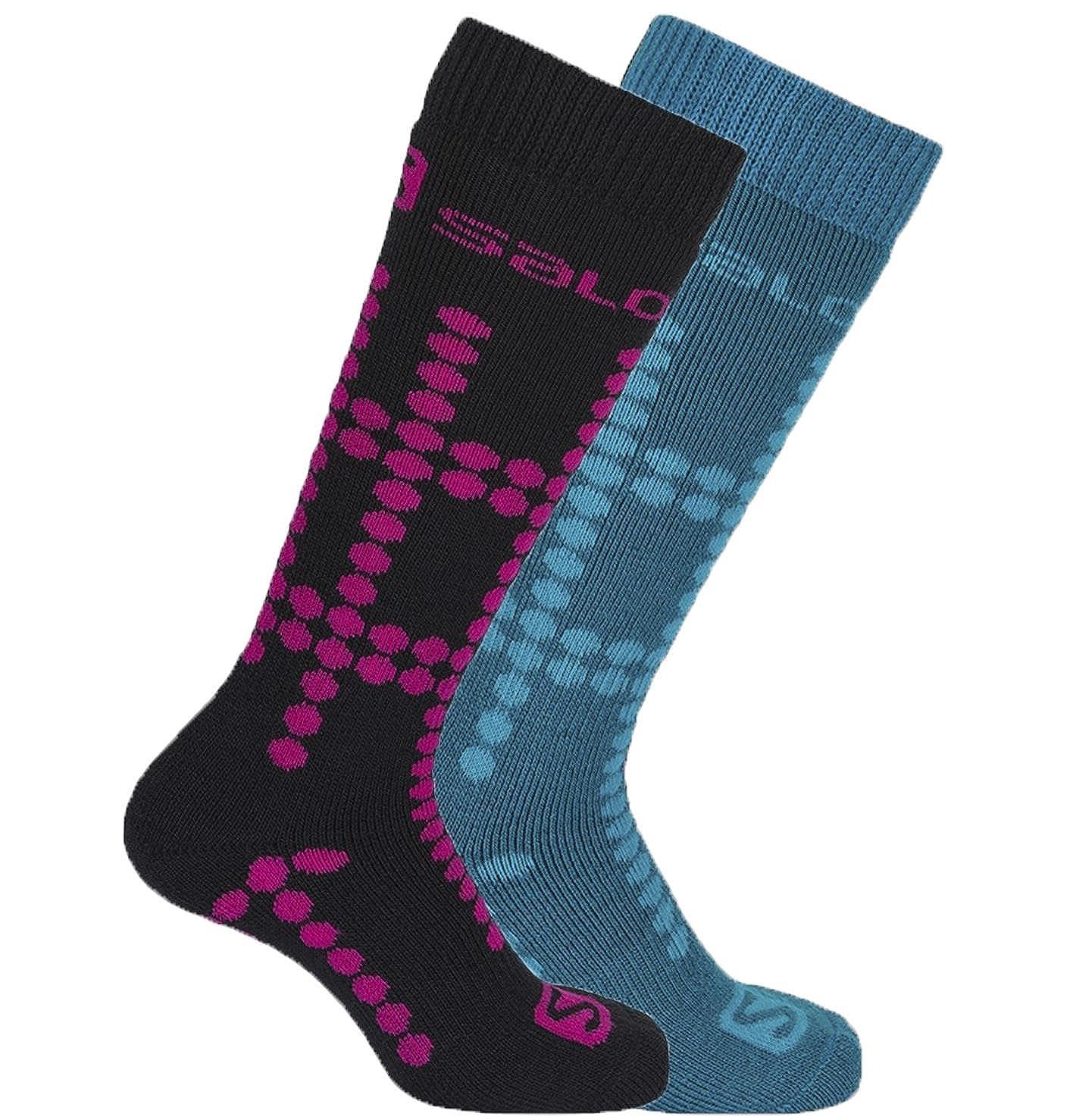 Salomon Team Kids Ski Socks, Twin Pack - Black/Kouak Blue