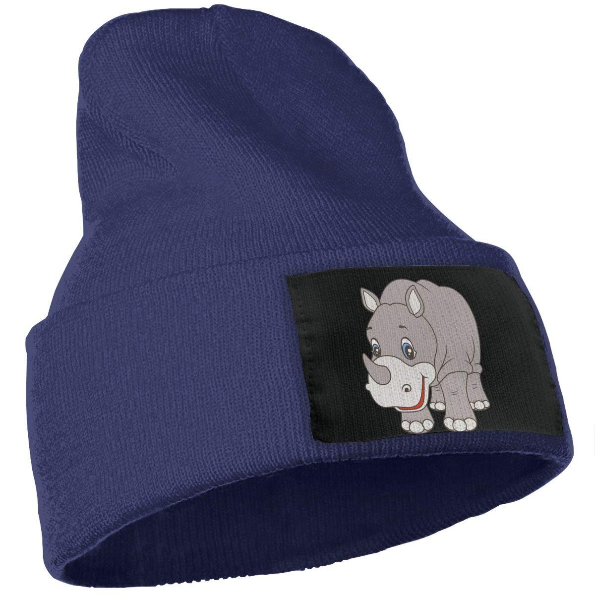 SLADDD1 Rhinoceros Hippopotamus Warm Winter Hat Knit Beanie Skull Cap Cuff Beanie Hat Winter Hats for Men /& Women
