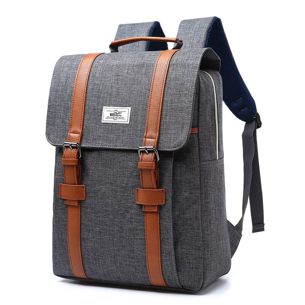 More Luck Vintage Canvas Backpacks PU Leather 15.6