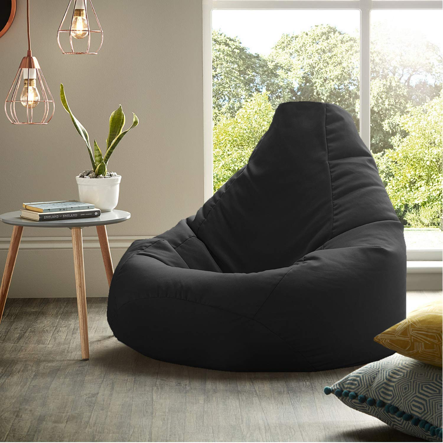 Ink Craft Bean Bag Chair Cover Without Beans For Bedroom Living Room Office Home 30 1 X 28 6 X 2 8 Cm Black Xl Amazon In Electronics