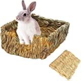 Tfwadmx Rabbit Grass Bed, Natural Straw Woven Grass Bed Bunny Chew Toys Hay Mat for Rabbit Hamster Gerbil Chinchilla…