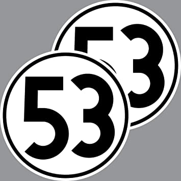 2 Aufkleber 15cm Startnummer 53 Sticker Auto Start Nummer