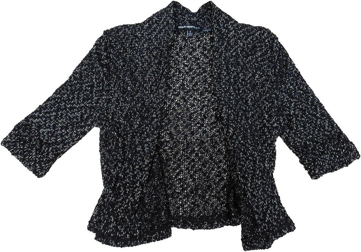 Sequin Hearts Knit Cardigan Girls Black Small