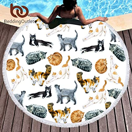 Amazon.com: Bedding Outlet Cute Cats Round Beach Towel ...
