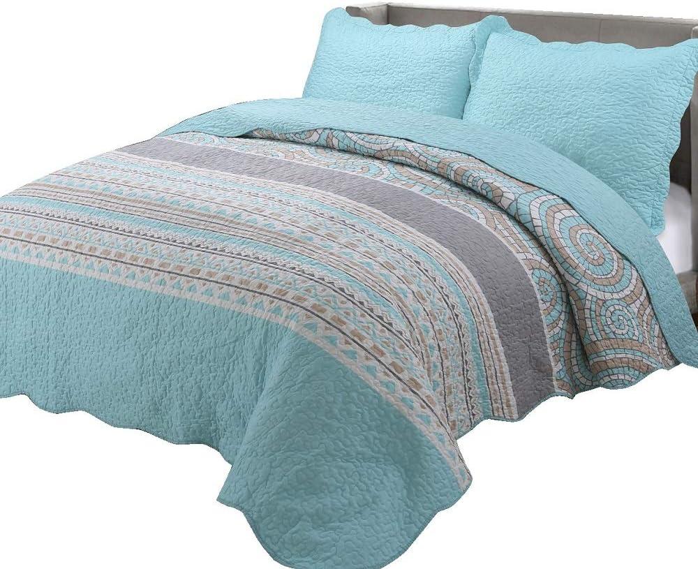 "vivinna home textile Quilt Twin Size Sets -2pcs Include Pillow Sham Patchwork Bedspread Blanket (Twin:68"" 88"", Neon Blue)"