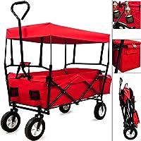 Deuba Bollerwagen faltbar mit Dach Handwagen Transportkarre Gerätewagen | inkl. 2 Netztaschen und Einer Außentasche | rot