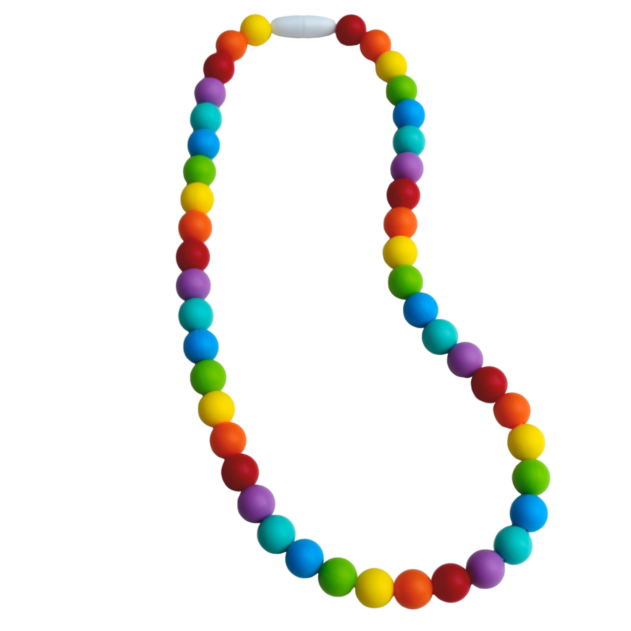 Sensory Oral Motor Aide Chewelry Necklace - Chewy Jewelry for Sensory-Focused Kids with Autism or Special Needs - Calms Kids and Reduces Biting/Chewing - Rainbow Necklace (No Knots)