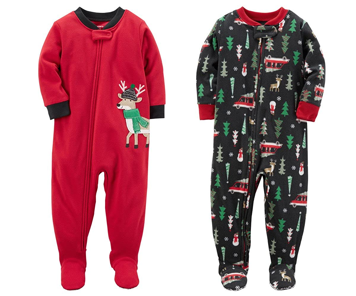 Carter's Baby Toddler Boys 2 Pack Fleece Footed Pajama Sleep n Play Red Reindeer