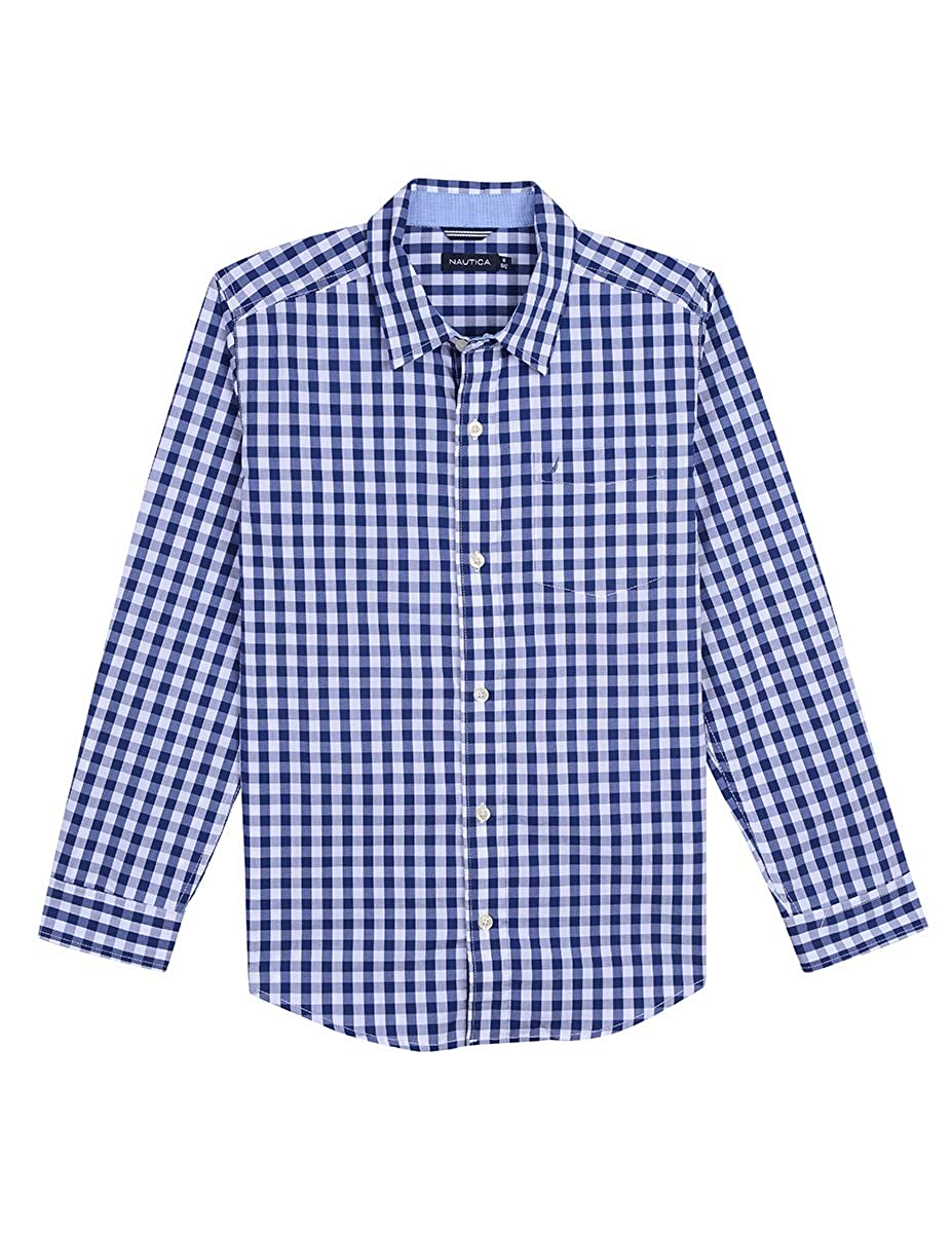 Nautica Boys Long Sleeve Gingham Woven Shirt
