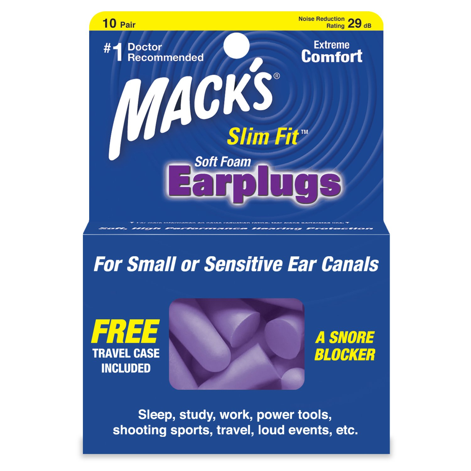 Mack's Slim Fit Soft Foam Earplugs, 10 Pair - Small Ear Plugs for Sleeping, Snoring, Traveling, Concerts, Shooting Sports and Power Tools