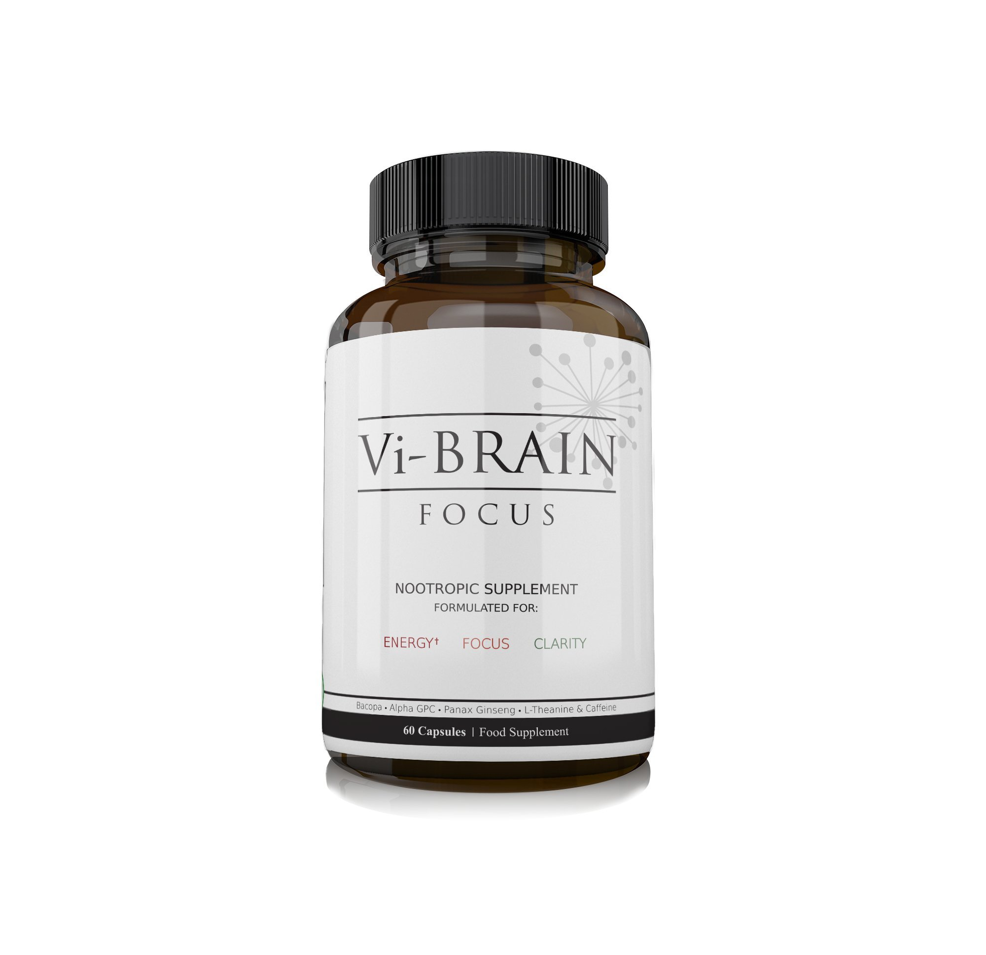 Vi-Brain Nootropic Focus Supplement - Daily Brain Food Providing Mental Stimulation and Stamina for Busy Professionals, Students & Athletes - Concentration Pills Nootropics Supplement - 30 Day Supply