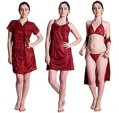 3b8ab7d9e1 Senslife Satin Nightwear Sleepwear 4 Pc Set of Nighty Wrap Gown Bra   Thong  SL006 (