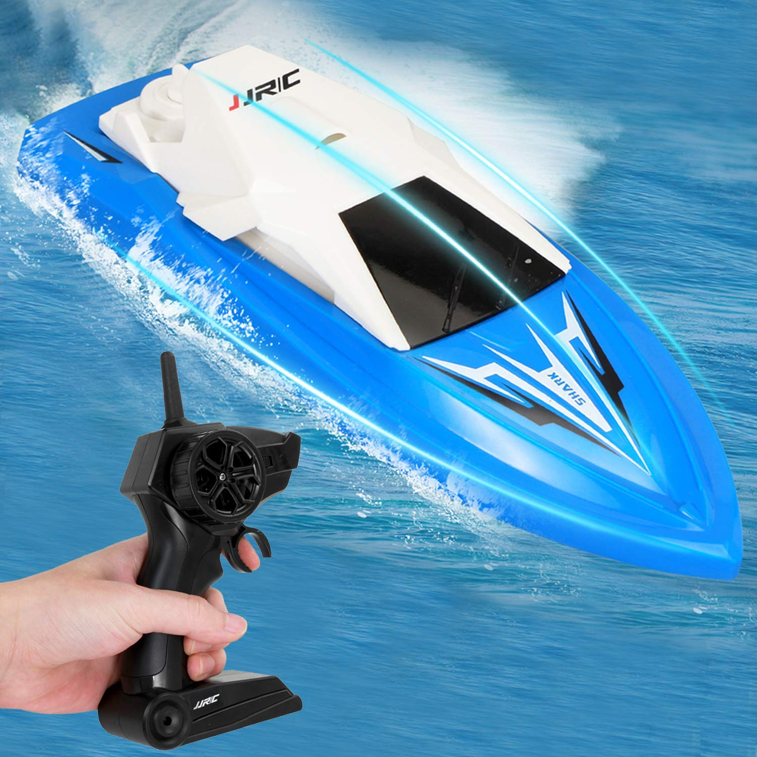 GotechoD Remote Control Boat for Kids Adults RC Boats for Pools and Lakes 2.4Ghz Racing Boats High Speed 20minutes Play Time Rechargeable Electric RC Toys for 6,7,8-16 Year Old Boys Girls Gifts Blue