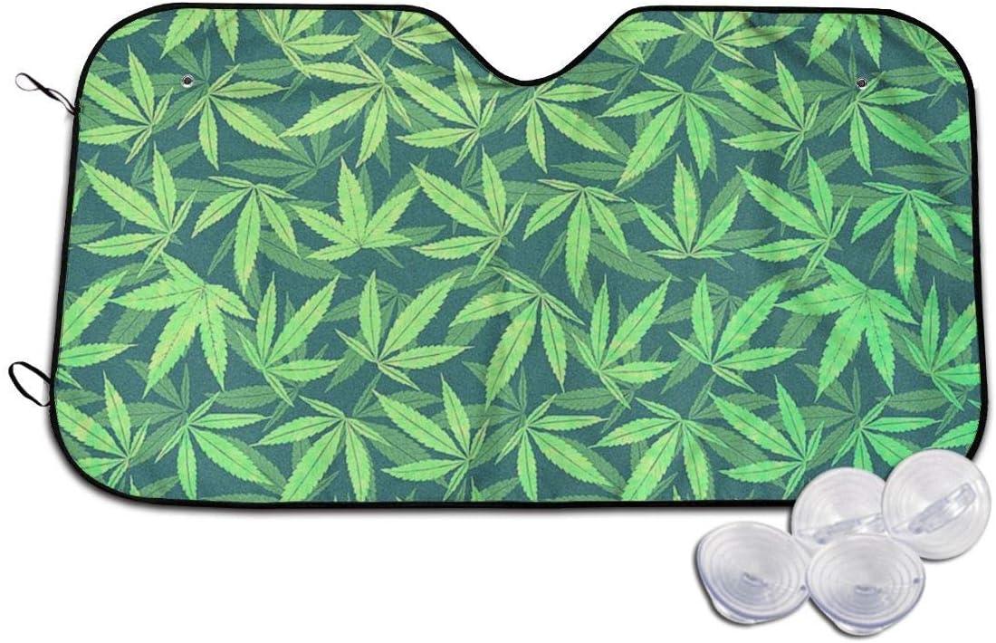 YJWLO - Parabrisas Plegable con diseño de Marihuana de Cannabis para Coche, con Reflector de Rayos UV y Protector Solar para Ventana Delantera con Dos tamaños