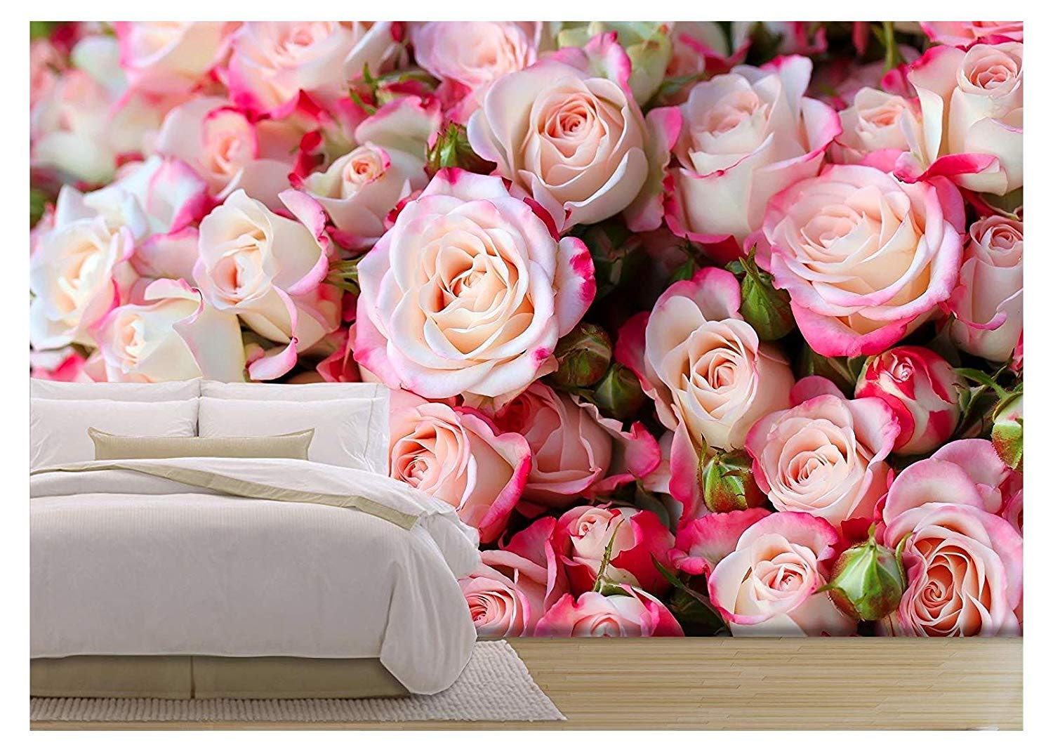 wall26 - Roses Background - Removable Wall Mural | Self-Adhesive Large Wallpaper - 100x144 inches by wall26 (Image #1)