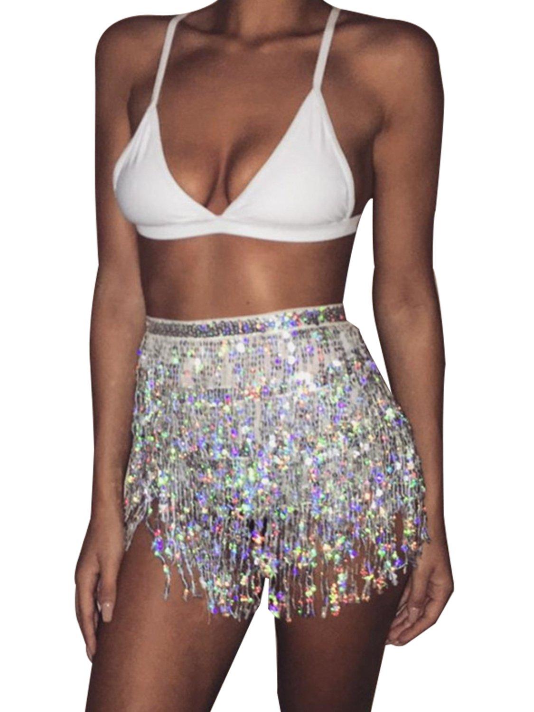 Glamaker Womens Summer Beach Wrap Sequins Tassel Mini Skirts Belly Dance Hip Scarf Belt ,Silver,One Size