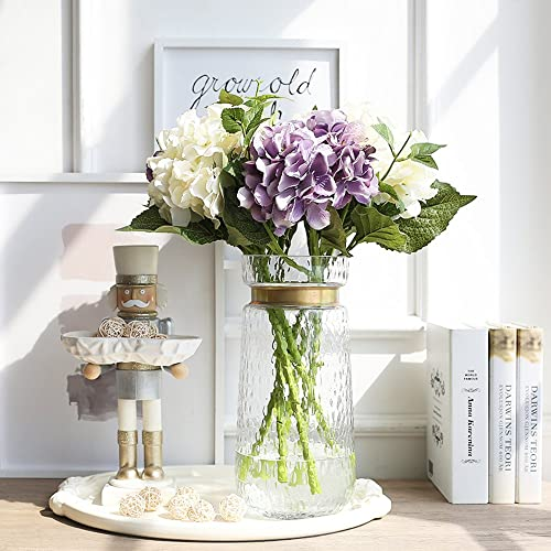 cyl home Vases Cylinder Clear Hammered Glass Flower Arrangement Vase Brass Gold Band Decor Dining Table Centerpieces Gifts for Wedding Housewarming Party 11.8 H x 5.4 D