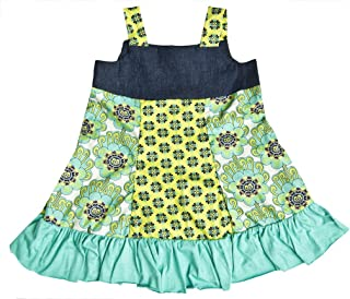 product image for Cheeky Banana Little Girls Denim All Season Jumper/Dress Lime/Denim