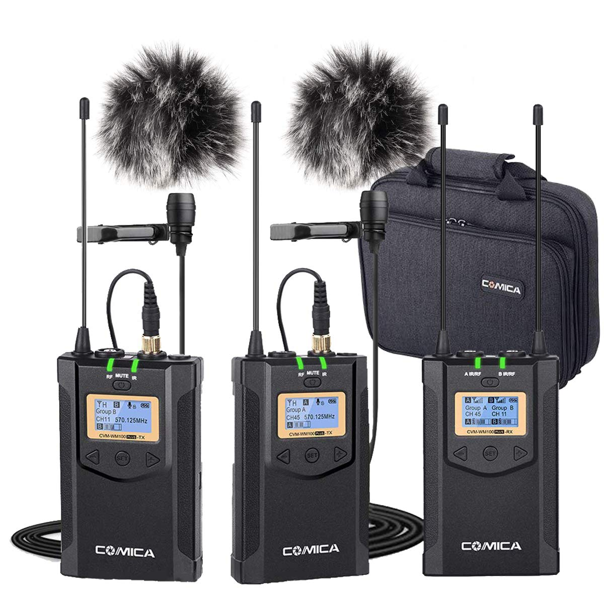 Wireless Lavalier Microphone System(2TX+1RX), Comica CVM-WM100 Plus UHF Dual Wireless Lapel Mic System for DSLR Canon Nikon Sony Panasonic Camcorder, Smarphone by Frunsi