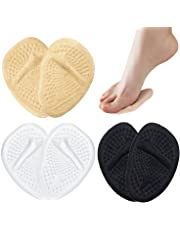 Metatarsal Pads, 3Pairs Forefoot Cushion Insoles for Women, Gel Ball of Foot Shoe Inserts for Metatarsal Support and Pain Relief, Adhesive, Clear, Black, Beige