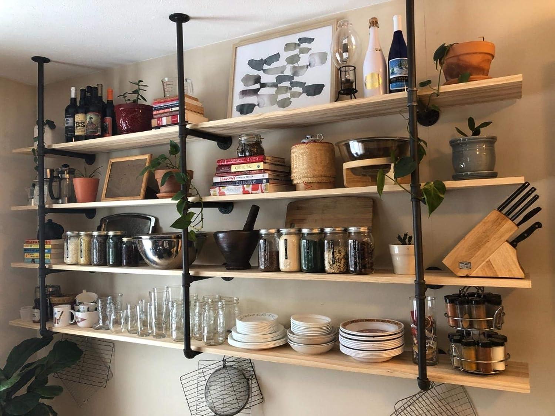 FODUE Industrial Wall Mount Iron Pipe Shelf Shelves Shelving Bracket Vintage Retro Black Open Bookshelf Bookcase DIY Storage Office Kitchen (3PCS)