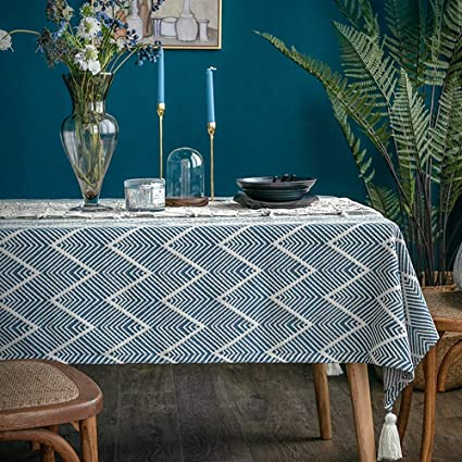 "Lahome Chevron Tablecloth - Cotton Linen Wave Pattern Washable Table Cover for Kitchen Dining Room Restaurant Party Decoration (Rectangle - 53"" x 102"", Blue) best rectangular tablecloths"