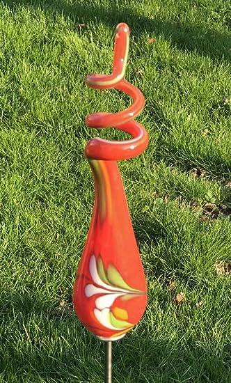 Gartenstecker kleines Spiral-Objekt mit Stab H 103 cm Handarbeit Glas Gartenstele Glas-Objekt