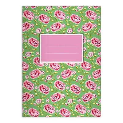 2 Superbes cahiers Shabby Chic avec des roses jolies, blanc, A5 (21x14,8), cahiers de maths linéatur 7 (carreaux 7mm, sans bord)