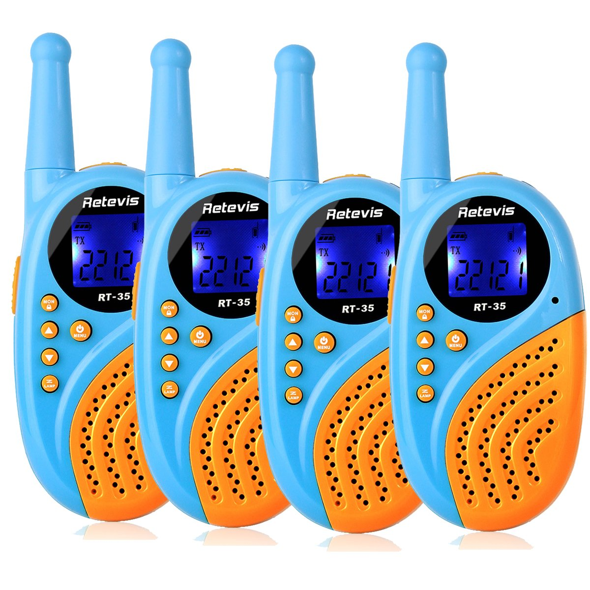 Retevis RT35 Walkie Talkies Rechargeable Mini Size VOX Flashlight USB Rechargeable License-Free 2 Way Radios with Digital Clock and Alarm Clock Function (Blue, 4 Pack)