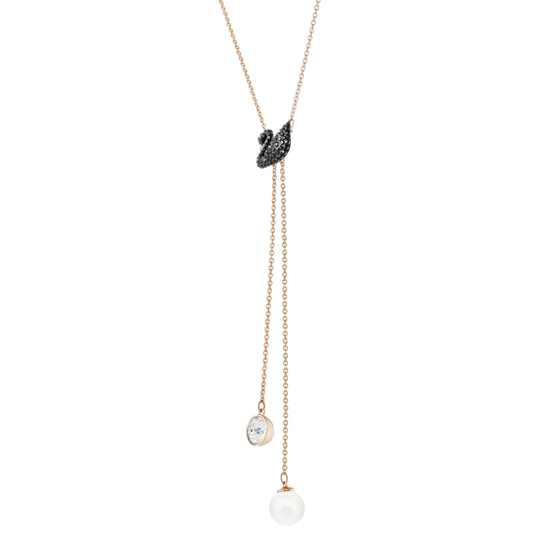 5351806 M/étal Dor/é Rose Cristal Noir Swarovski Collier en Y Femme