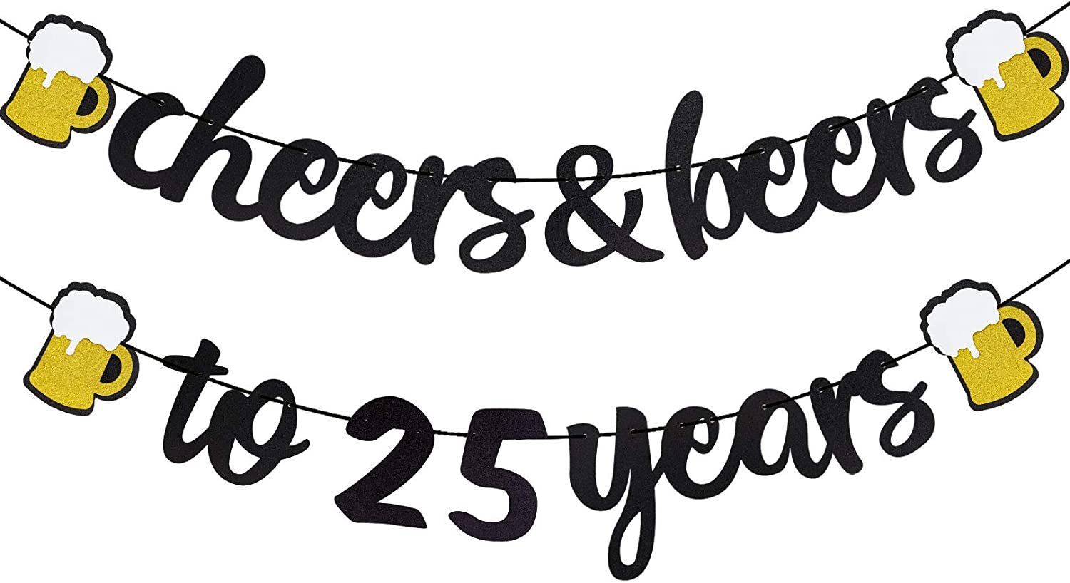 Purp Pie Cheers and Beers to 25 Years Banner Black Glitter 25th Happy Birthday Themed Sign Decor Twenty-Five Wedding Anniversary Party Decorations Supplies