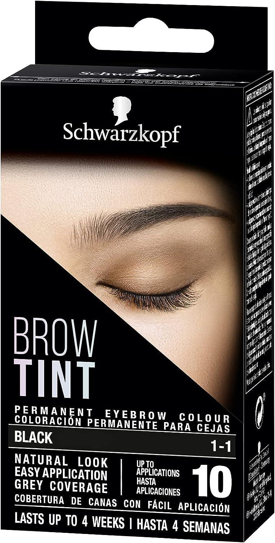 Schwarzkopf Brow Tint - Tinte De Cejas Negro Tono 1.1 (Pack de 3) – Coloración permanente - Color natural y duradero de hasta 4 semanas