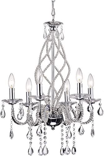 Edvivi Allecra 6-Light Vintage Chrome Finish Crystal Chandelier Ceiling Fixture Glam Lighting