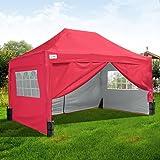 Quictent - Carpa para fiesta de 3 x 4,5 m, color rojo, con 4 bolsas de peso y barra de apoyo