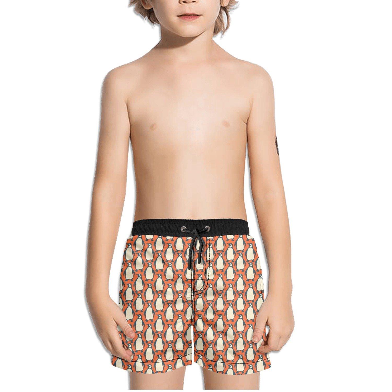 FullBo Vintage Penguins in Orange Little Boys Short Swim Trunks Quick Dry Beach Shorts