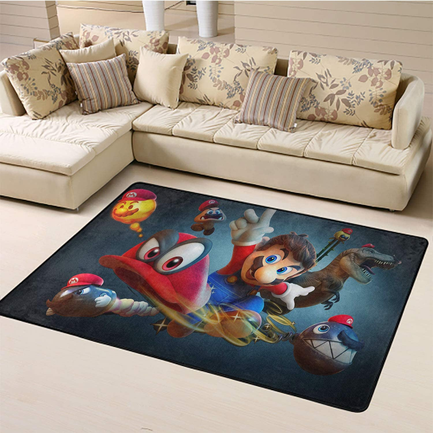 Bedside Rugs,Bullet Bill Cappy Mario Chain Chomp Goomba Lava Bubble Super Mario Area Rug Anti Slip W47xL71 inch