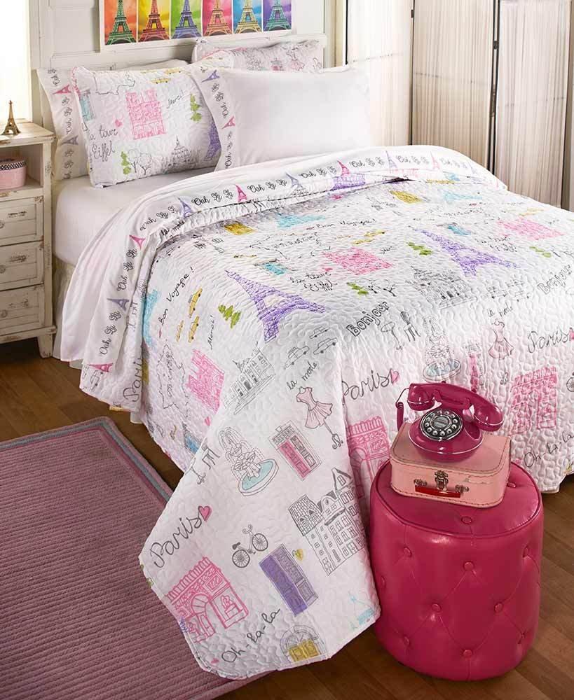 BonJour Paris, Eiffel Tower, Merci, Girls Twin Quilt & Sham Set (2 Piece Bedding) + HOMEMADE WAX MELTS