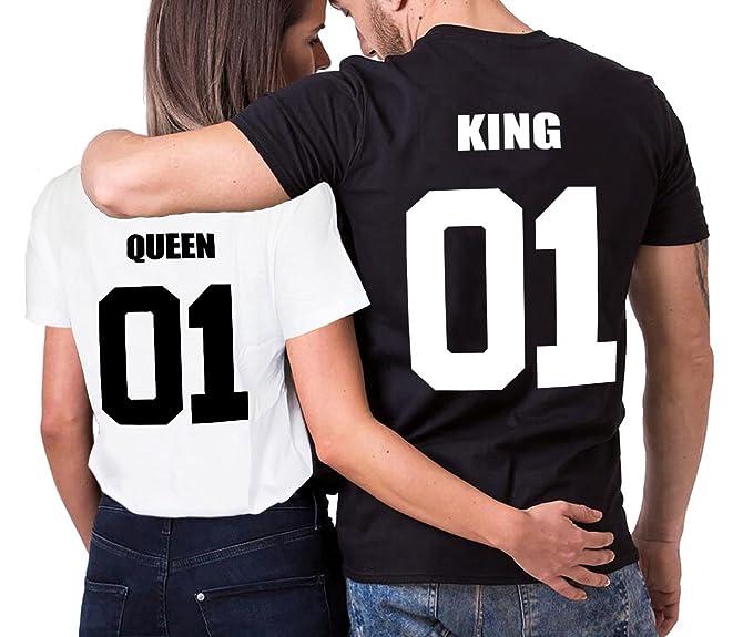 King Camiseta Queen 100% Algodón Shirt 2 Piezas Rey Reina Impresión Regalo de San Valentín